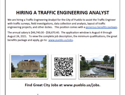 Job Opportunity – City of Pueblo Traffic Engineering Analyst